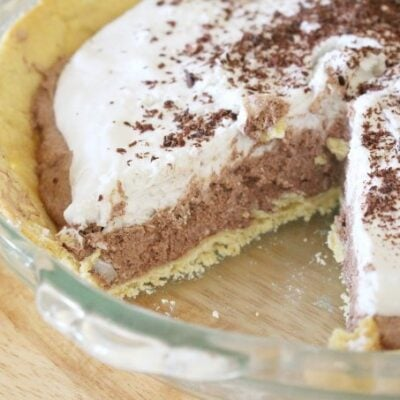 Dairy free french silk pie in pie pan