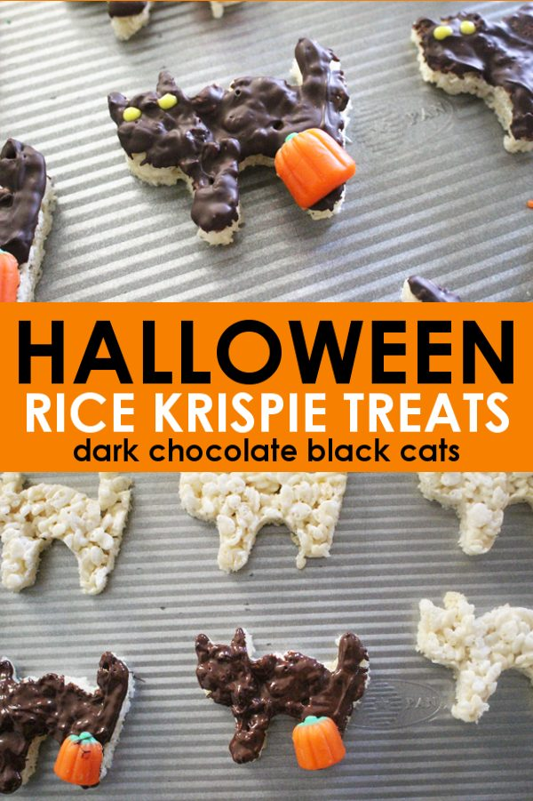 Halloween rice krispie treats made with dark chocolate in the form of black cats