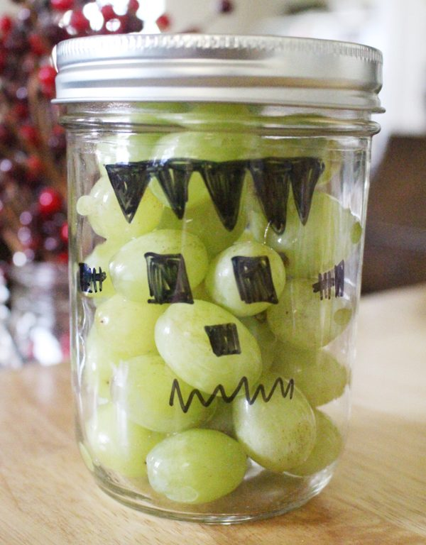 Healthy halloween snacks - Frankenstein grapes