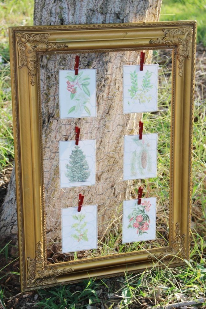 vintage christmas printables displayed in a gold frame