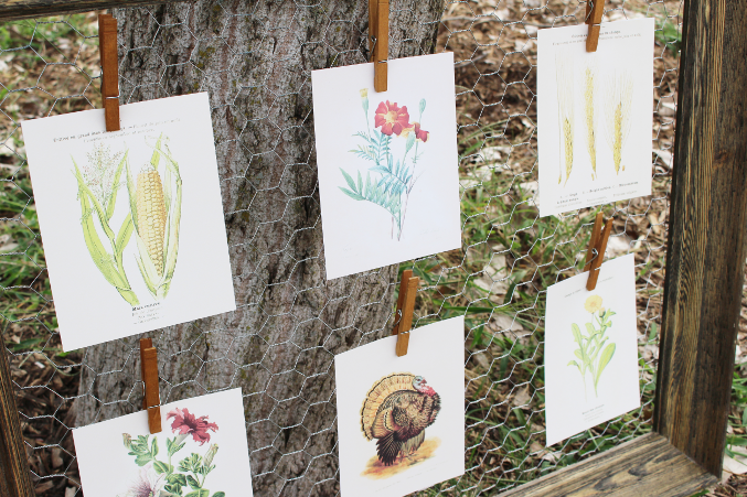 Vintage printables displayed for fall