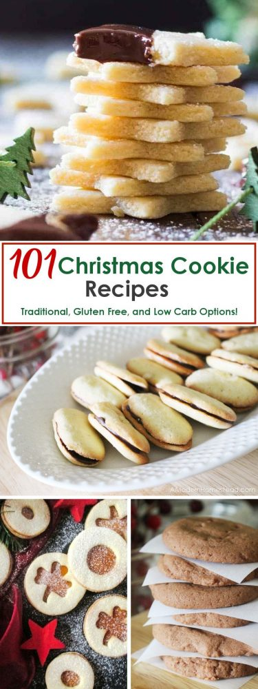 101 Christmas Cookie Recipes to get you in the holiday spirit and help you find the perfect cookie for cookie exchange parties! Traditional Christmas cookies, and even Gluten free Christmas cookies and Low Carb Christmas cookies are included in this list, so there is something for everyone!