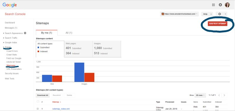 where to add a sitemap to google search console