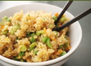 easy vegetable fried rice in a white bowl