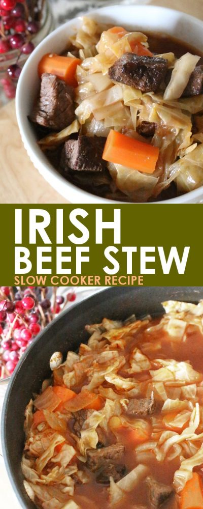 Irish Slow Cooker Beef Stew: This Irish beef stew recipe is easy to make and even easier to eat! This can be made in an electric or non-electric crockpot or on the stove to serve right away!