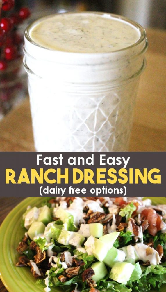 homemade ranch dressing in a mason jar and on a salad