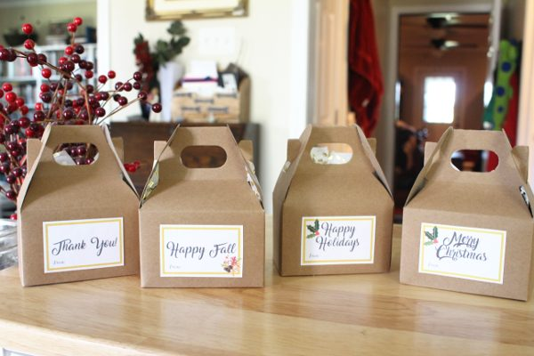 Fall and Christmas Treat Boxes with Free Printable Gift Tags