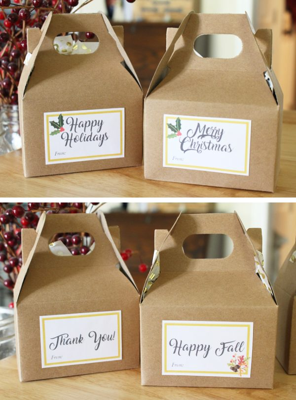 Fall and Christmas printable gift tags on brown treat boxes
