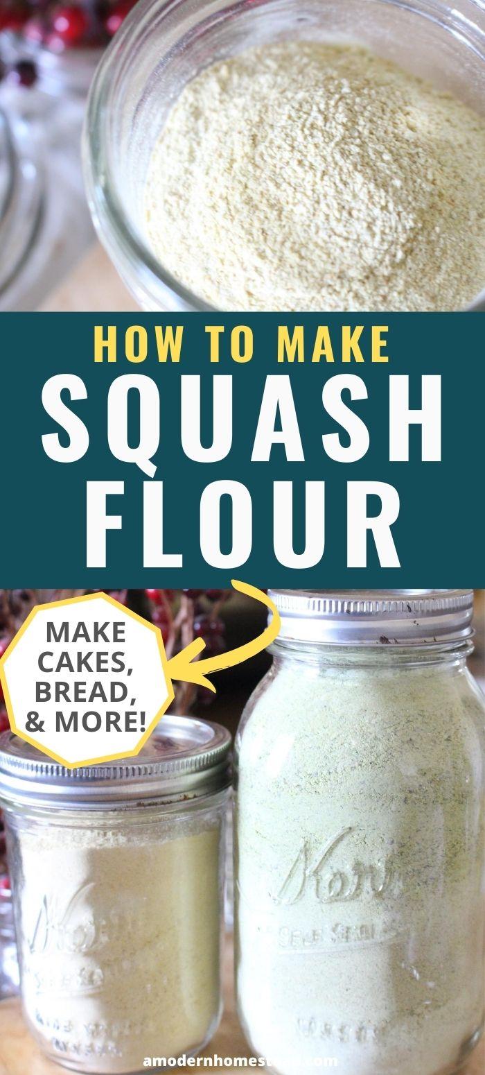 Squash flour made with yellow squash and zucchini in mason jars.