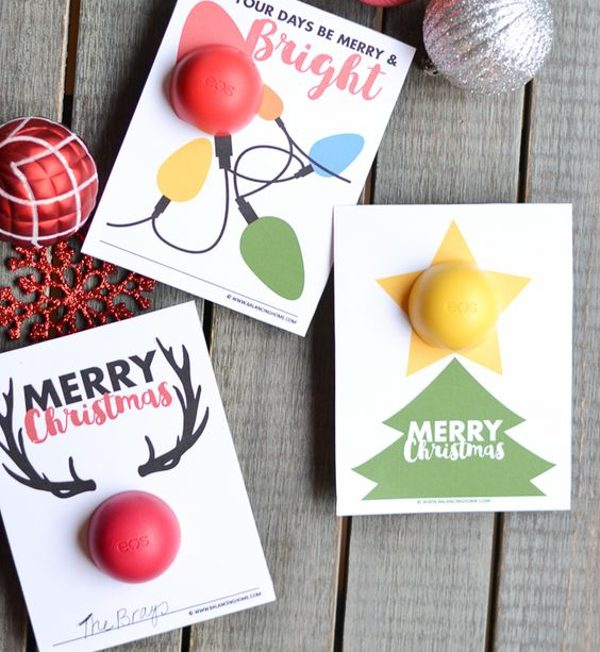 printable christmas gift idea - DIY lip balm gift card