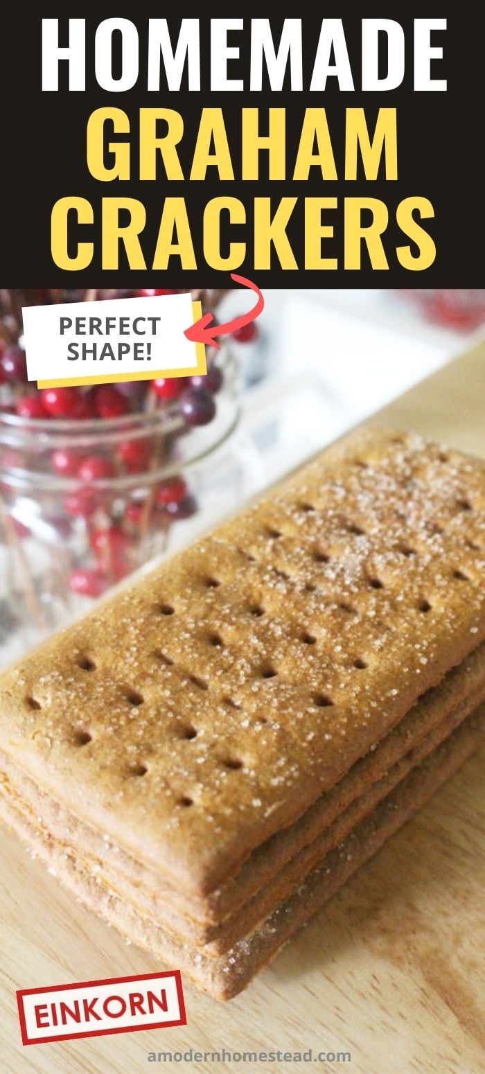 Homemade graham crackers in a stacked pile