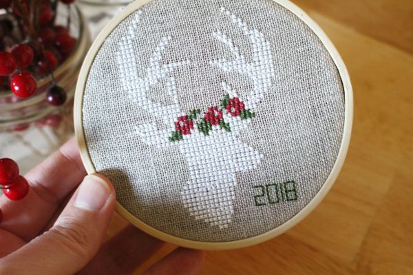 Finished counted cross stitch Christmas pattern