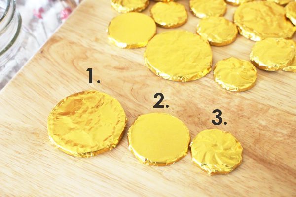 3 different sizes of homemade gold chocolate coins