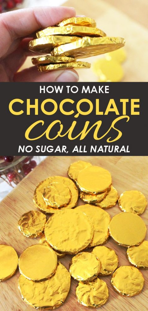 how to make your own homemade organic gold chocolate coins