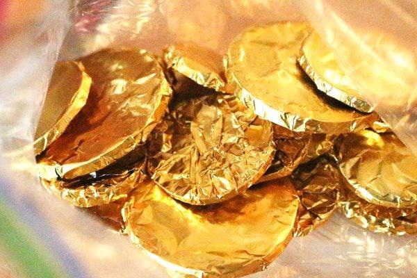 Homemade gold chocolate coins, organic no sugar