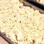 Freeze dried mashed potatoes finished on a tray.
