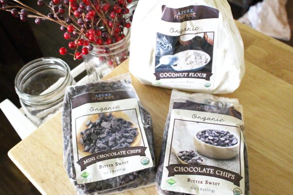 bags of organic coconut flour, organic chocolate chips, and organic mini chocolate chips from Azure Standard