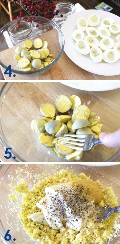 Making Deviled Egg Filling