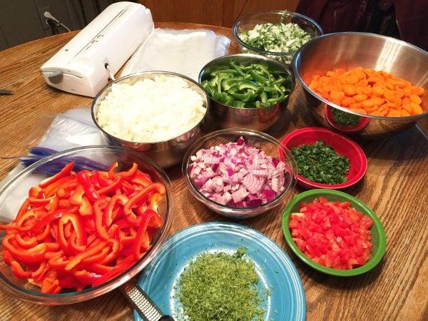 Freezer meals cooking prep for crockpot recipes