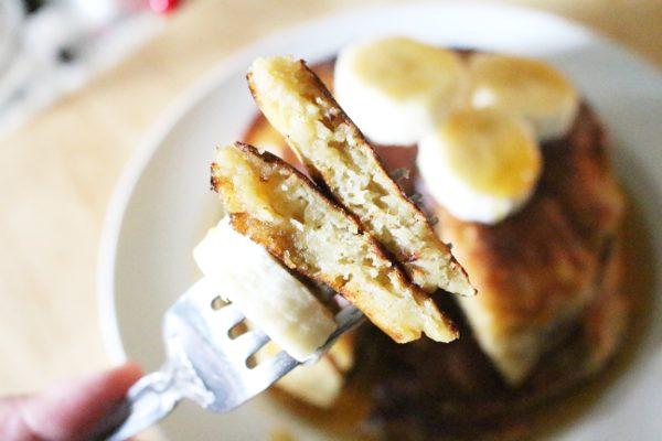 Banana bread pancake bite on fork
