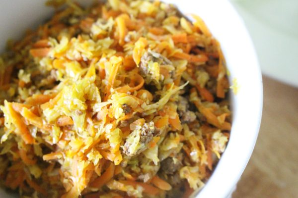 egg roll bowl filling close up