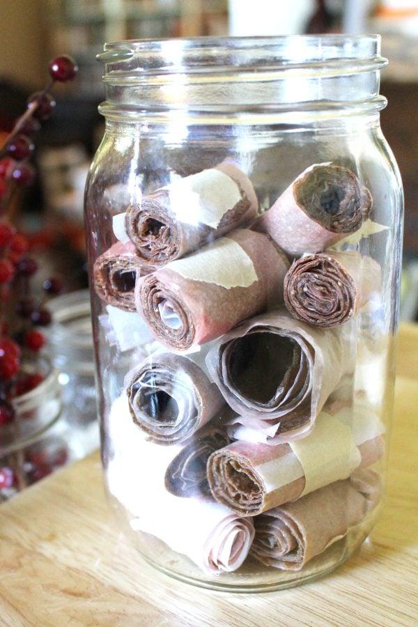 Strawberry Zucchini Fruit Leather in a Mason Jar