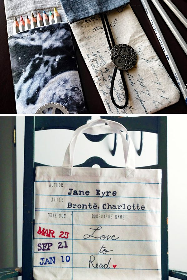 DIY cloth pencil case and canvas book bag for back to school