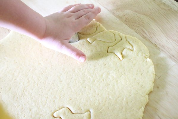 rolled out cookie dough being cut in animal shapes by young boy