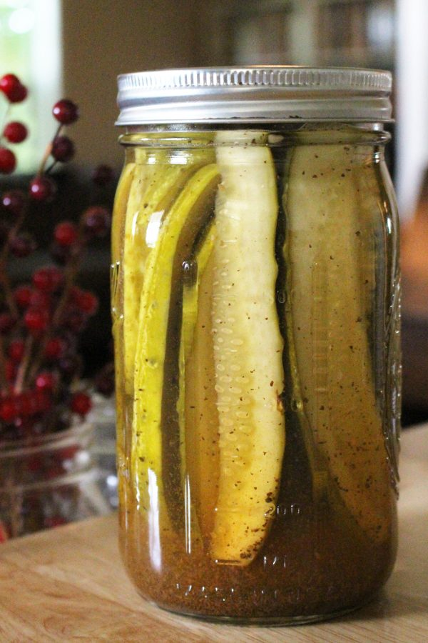 Dill pickle spears in a mason jar