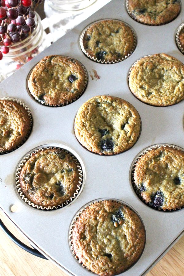 Coconut flour blueberry muffins in a muffin tin