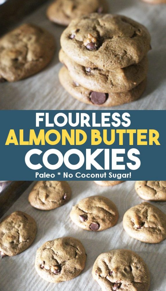 Promo image of almond butter chocolate chip cookies