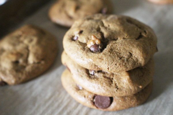 Paleo chocolate chip almond butter cookies in a stack