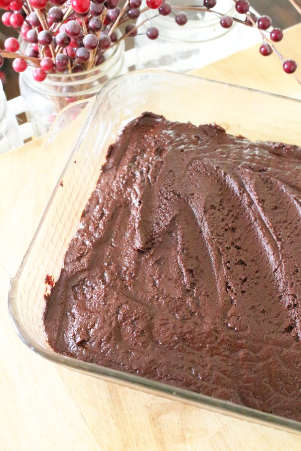Finished homemade chocolate fudge in an 8x8 pan