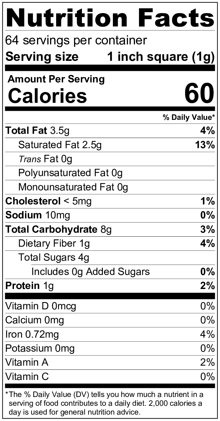 paleo fudge nutritional fact using Lily's stevia chocolate chips