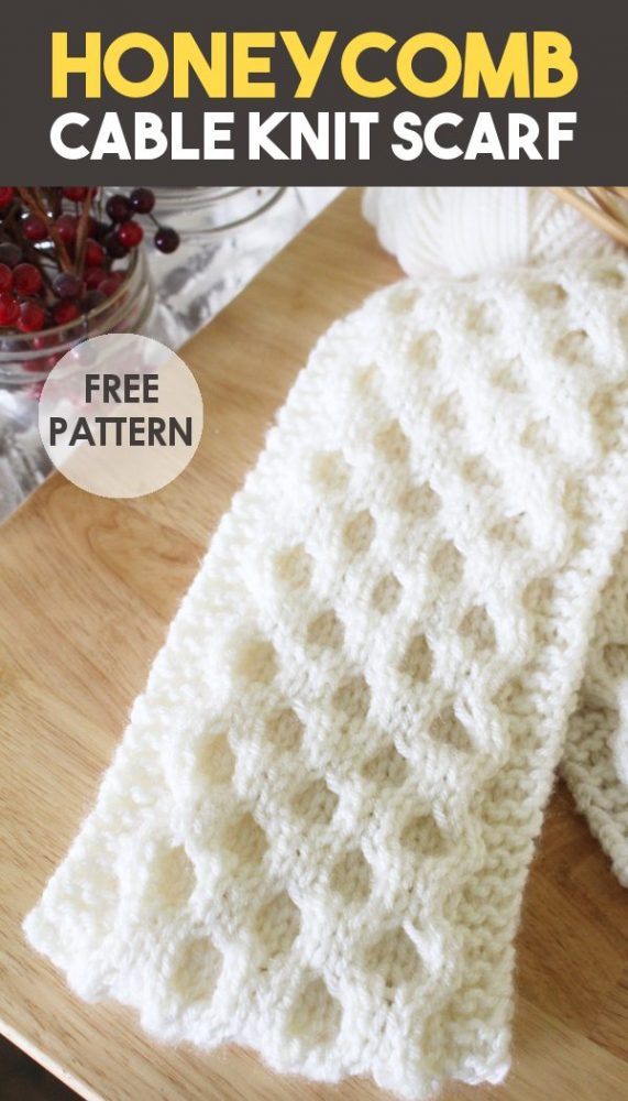 easy cable knit scarf pattern promo image