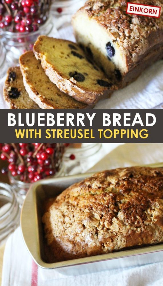 blueberry bread with streusel topping pin