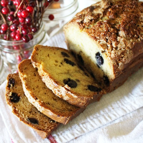 baked blueberry bread sliced on counter