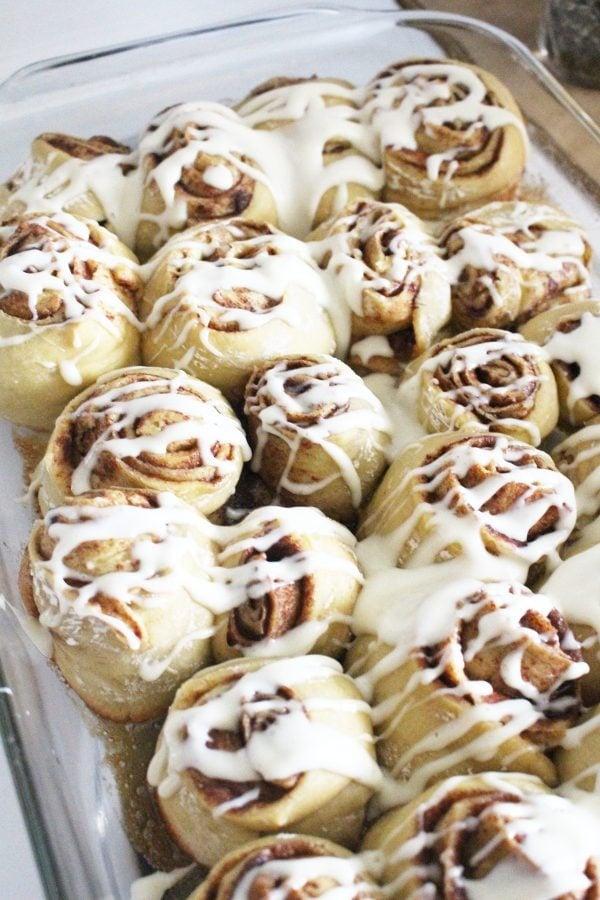 einkorn cinnamon rolls with cream cheese
