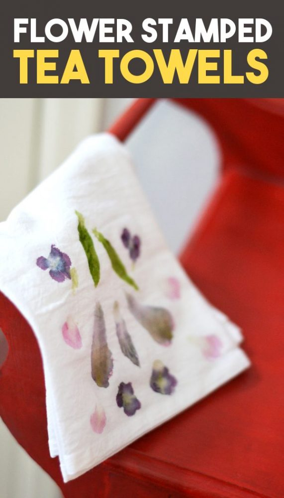 naturally dyed tea towels with flowers pinnable image