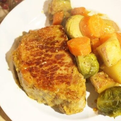 honey mustard pork chops and vegetable dinner recipe