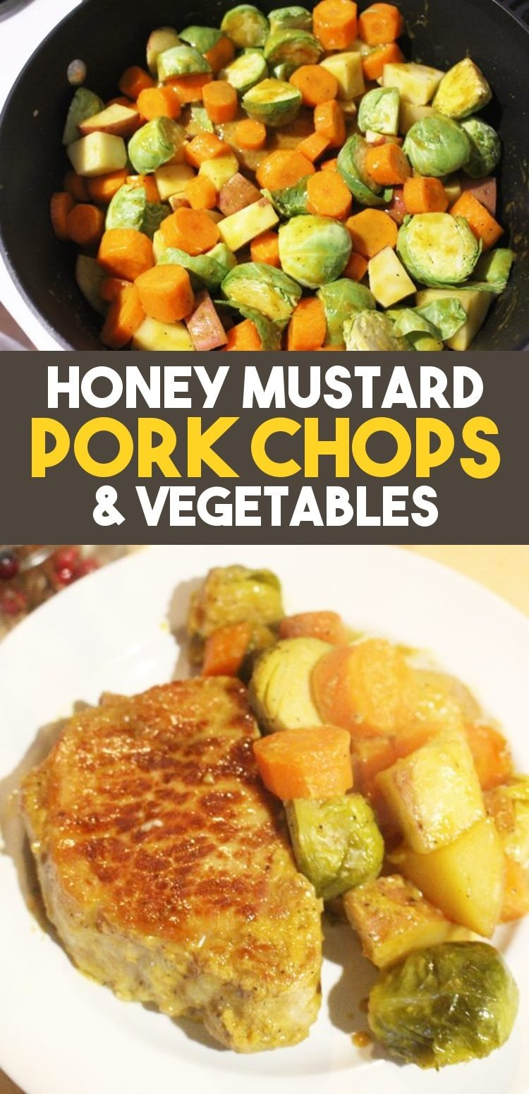 honey mustard pork chops and vegetable dinner recipe pin