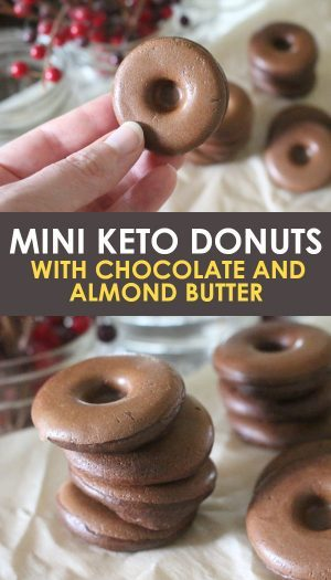 mini keto donuts with chocolate and almond butter pin