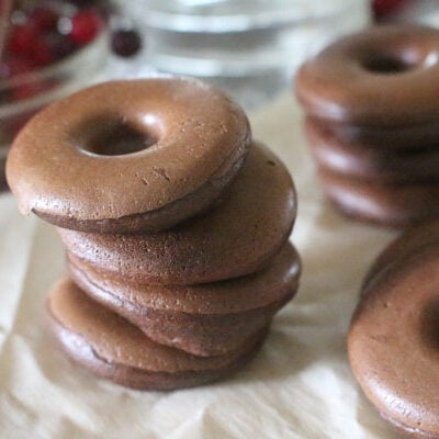 mini keto donuts with chocolate and almond butter in stacks