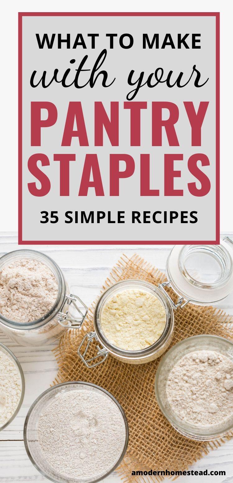 pantry staples in glass jars