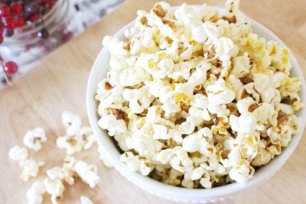 easy stovetop popcorn recipe in bowl