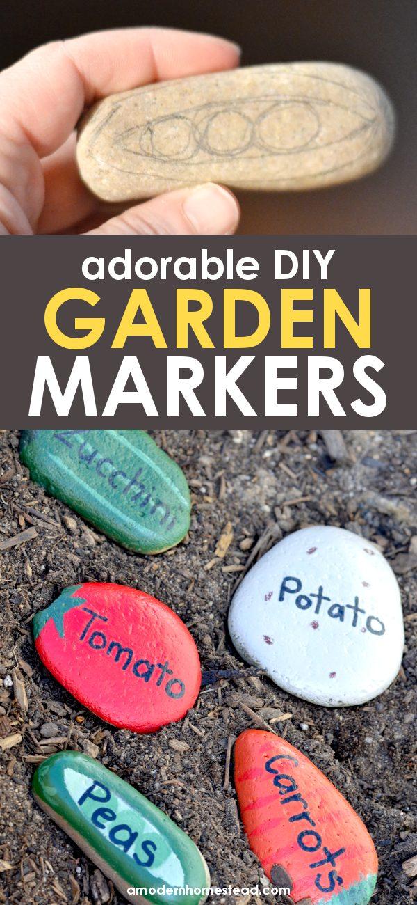 DIY painted rocks as garden markers pinnable image