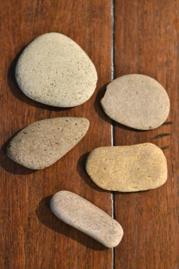 flat river rocks sitting on a wood floor
