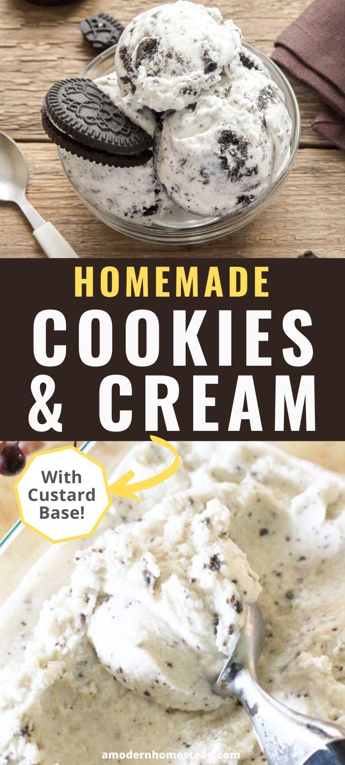 homemade cookies and cream ice cream pin
