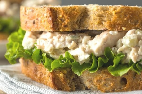 homemade chicken salad recipe on bread