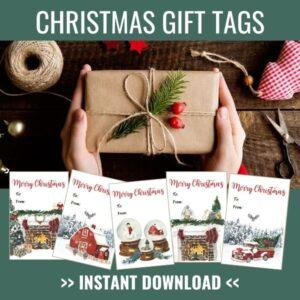 Christmas Watercolor Gift Tag Printable